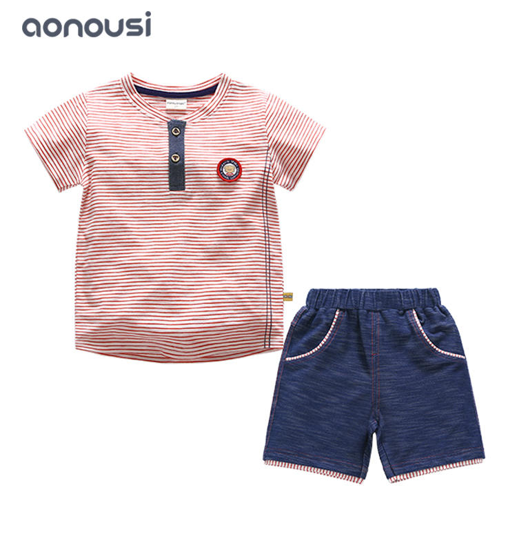 boys kid short sleeves suits summer boy letter printing t shirt cotton shirt and pants wholesale boys clothing