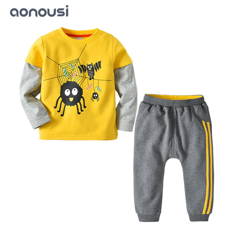 Boys sets 2019 new design yellow casual shirt hoodie gray sport pants warm sets boys wholesale