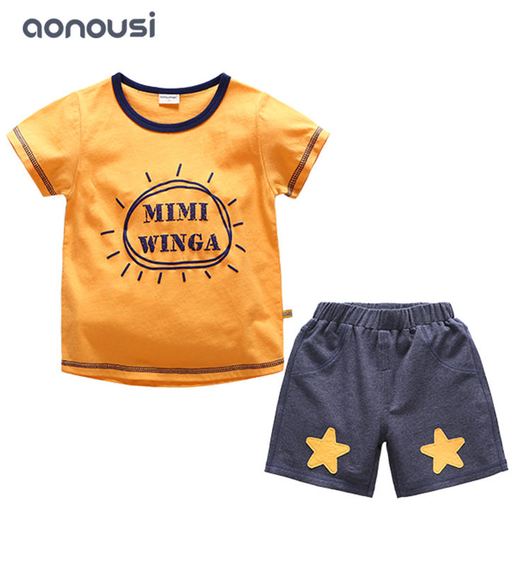kids clothing boys children short sleeves summer 2019 new style fashion letter printing suits boys wholesale