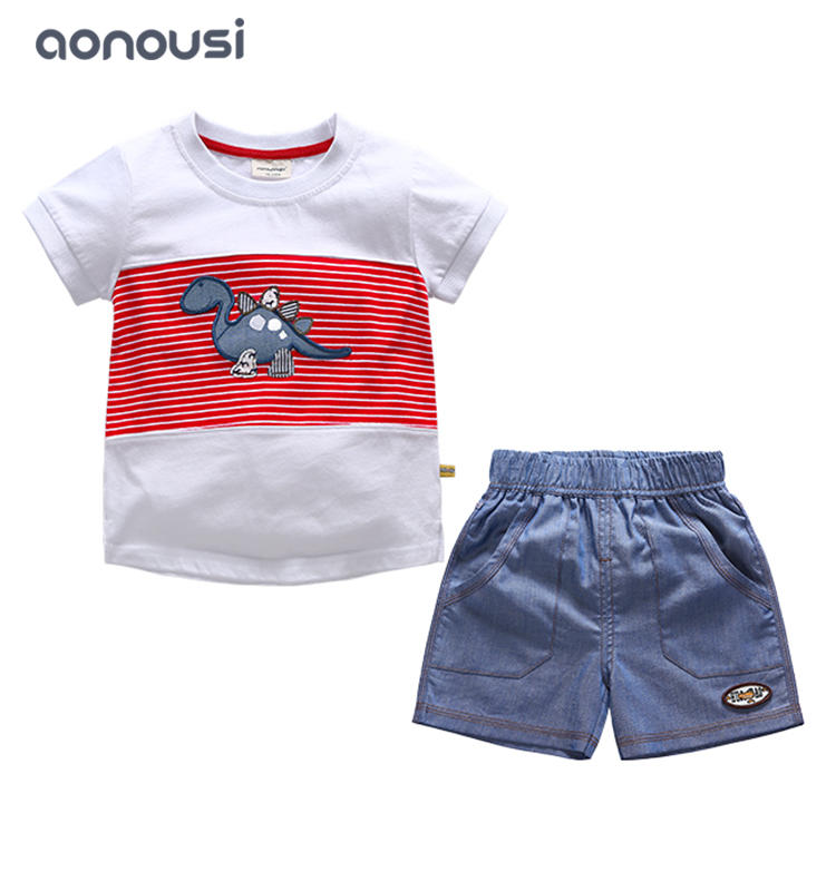 Summer new style sets 2019 boy kids cartoon dinosaur short sleeves shirt and shorts two pieces boys suits wholesale
