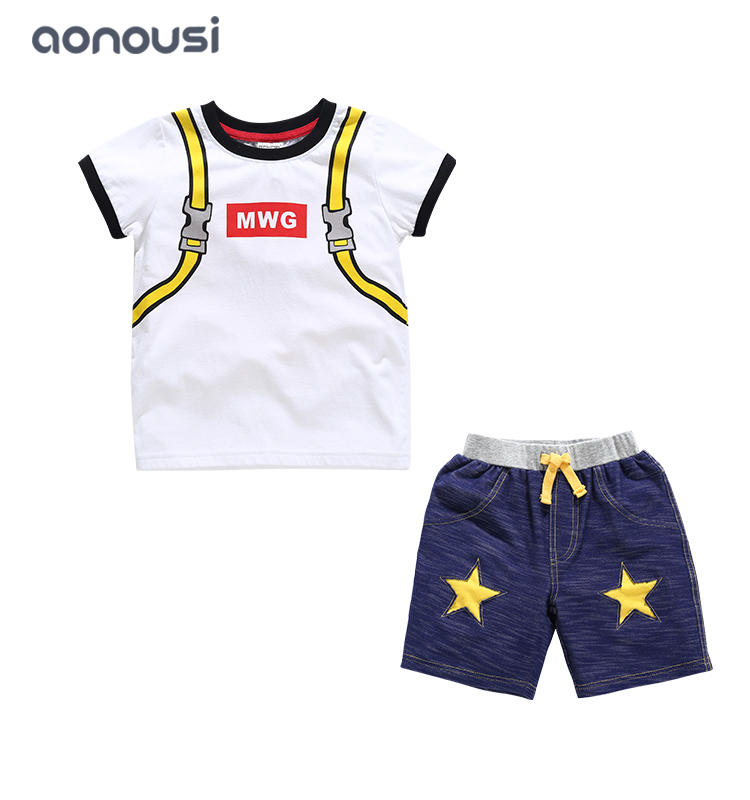 wholesale suits for boys 2019 new design middle big kids boys short sleeves blue bag  t shirt and shorts
