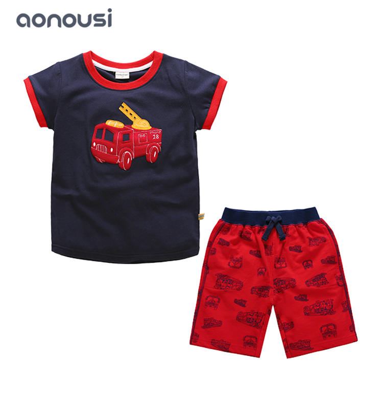 wholesale suits for boys 2019 new design black yellow t shirt and shorts Fashion handsome suits