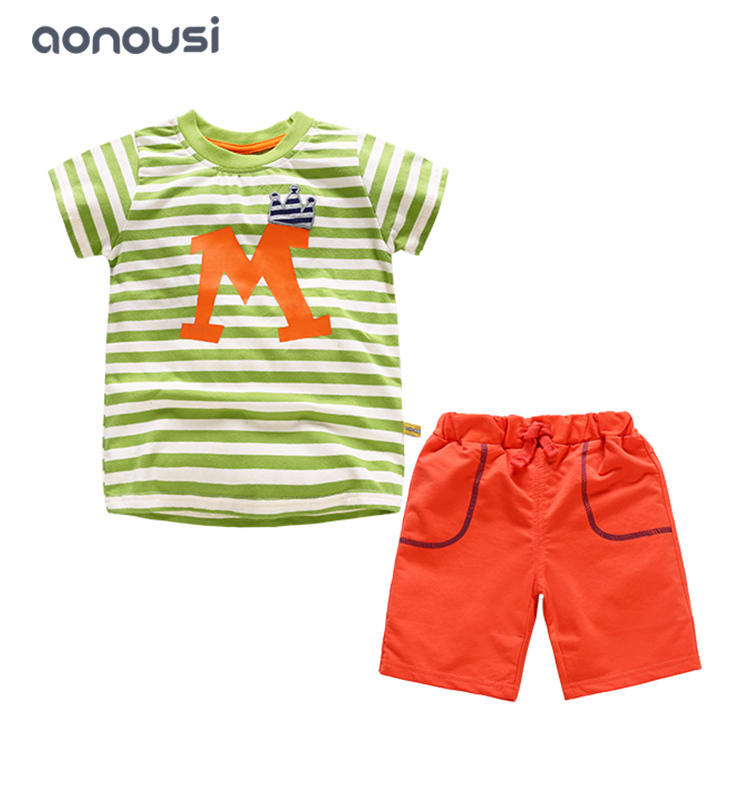 boy kid clothes summer clothing set 2019 fashion Korean version fashion cotton short sleeves striped suits boys wholesale