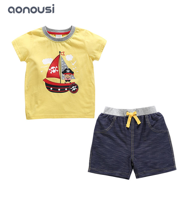 2019 Summer kid clothing fashion short sleeves yellow shirt and blue shorts two pieces suits boys wholesale