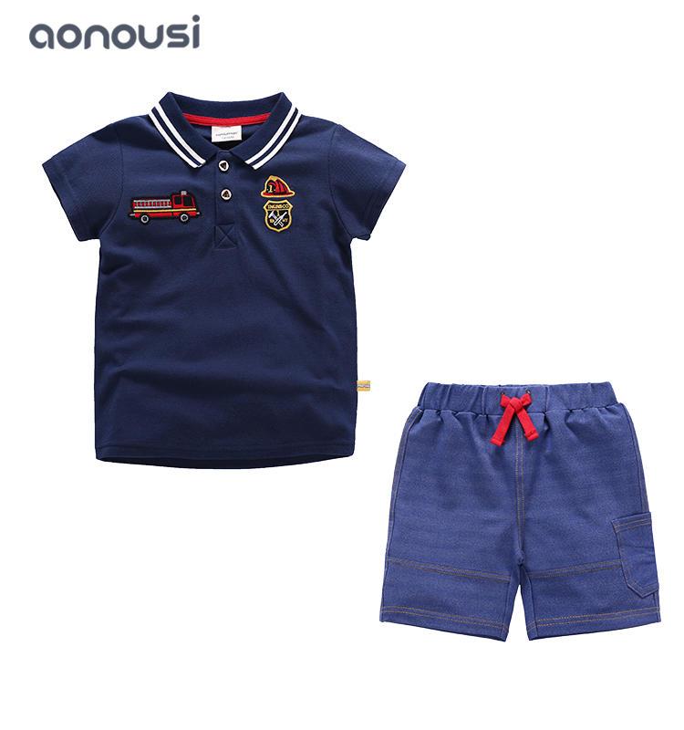 Summer suit children boys sets blue white polo shirt and pants fashion boys wholesale