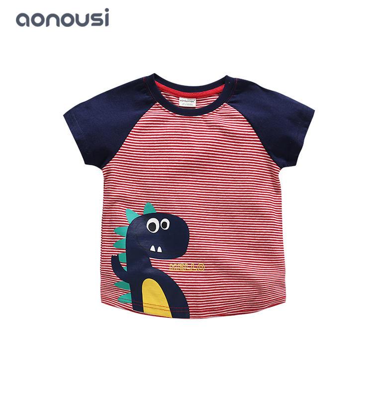 2019 new style boys shirt red striped t shirt  boys t shirts wholesale