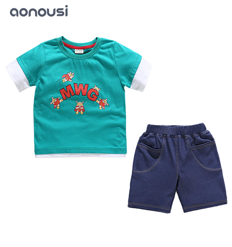 kids clothing boy summer sets 2019 summer Korean version middle big boys fashion two pieces boys clothing suppliers