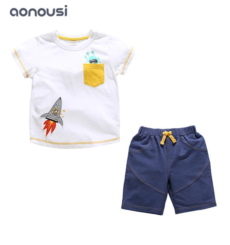 Children clothing boys sets 2019 summer new style cotton short sleeves shirt and shorts suits wholesale boys clothing suppliers