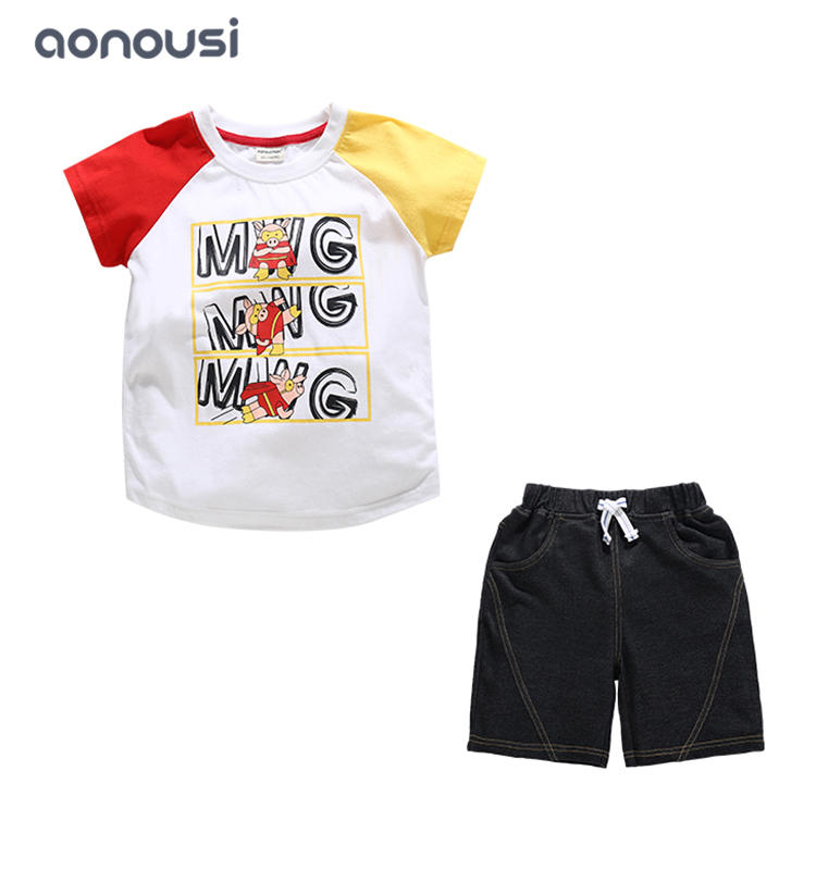 Fashion boys sets cartoon printing pattern shirt and denim shorts suits wholesale boys clothing suppliers