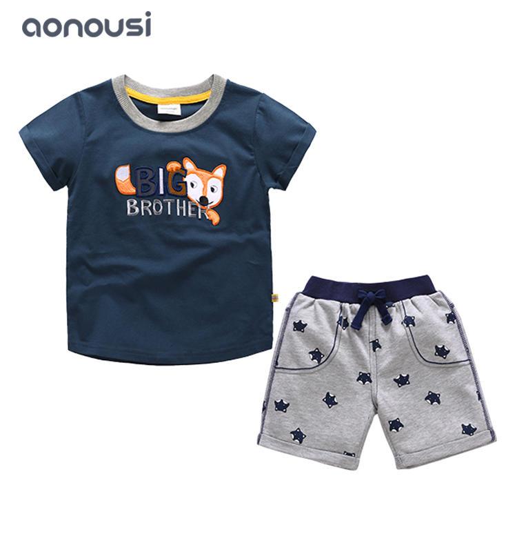2019 new fashion boy suits short sleeves suits cartoon fox printing wholesale boys clothing