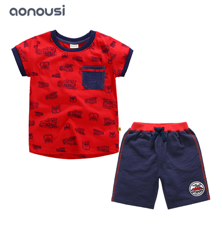 Children clothing summer boy suits red car shirt white smile t shirt and shorts boys suits wholesale