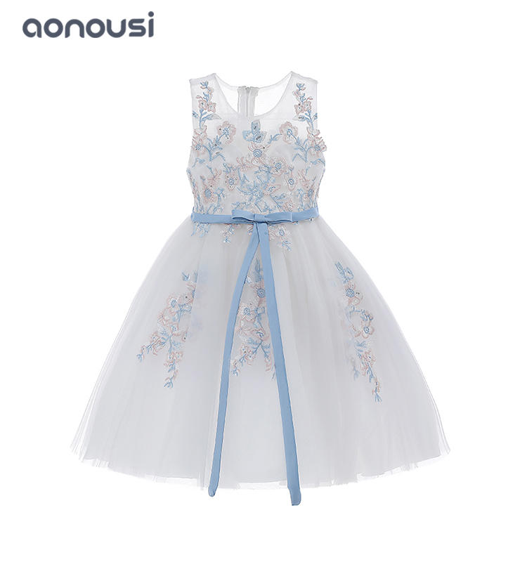 Summer clothing sleeveless fairy lace floral evening dresses girls wholesale clothing supplier
