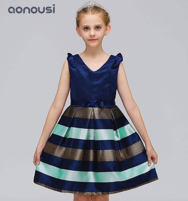 Children fashion striped dresses new style kids performance  evening dresses  wholesale girls boutique outfits