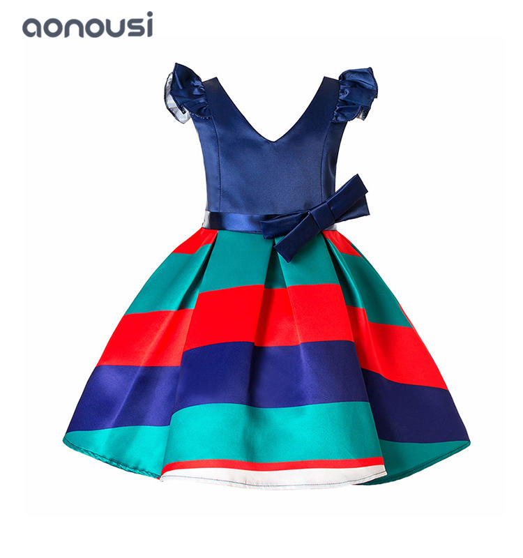 wholesale girls clothes new kids dresses European dress cuff stripes v collar evening dresses