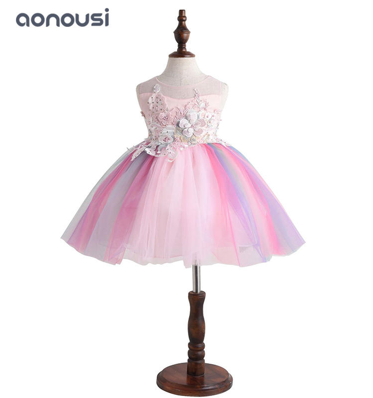 2019 new princess dresses colorful sleeveless pink floral dresses china wholesale girls clothing