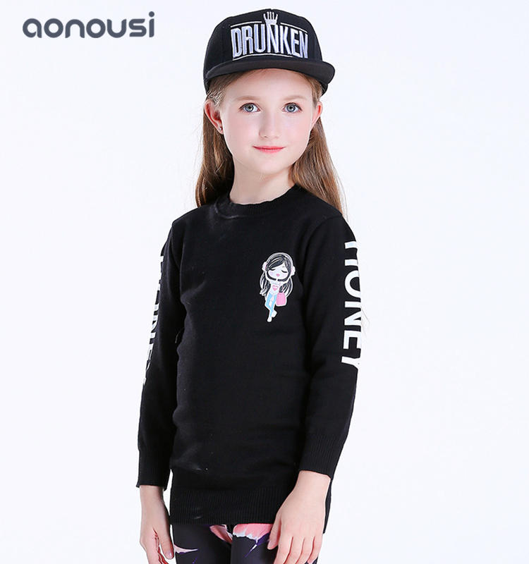 Girls clothes European and American style long sleeves sweater kids winter  wholesale girls outfits