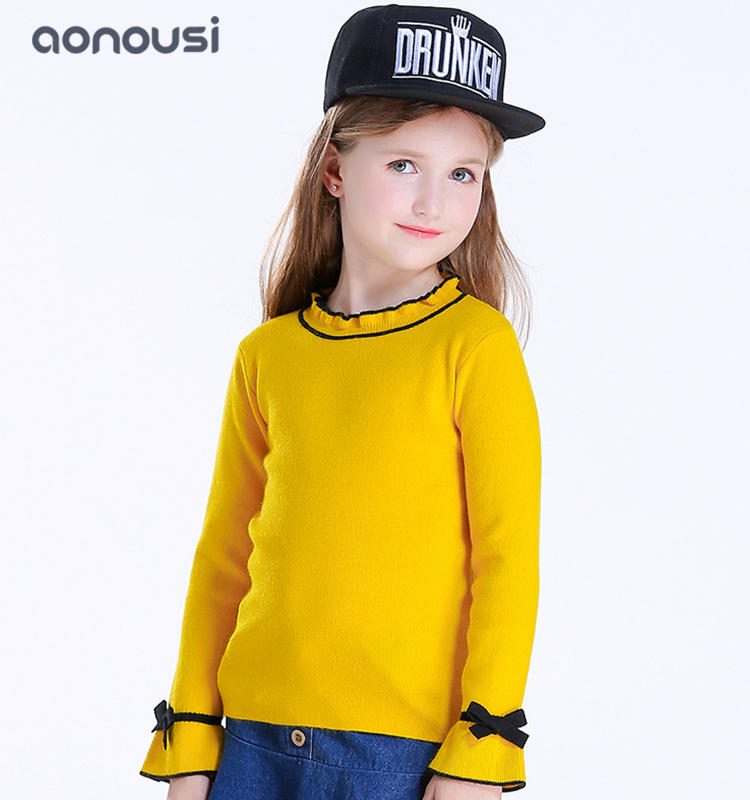 Girls pullover sweater 2019 new design stand collar and black ears knitted sweater kids wholesale girls clothes