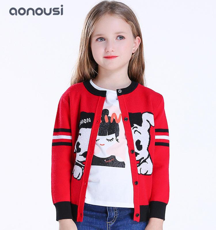 Girls knitting cardigan 2019 Autumn winter kids cartoon sweater girls wholesale clothing supplier