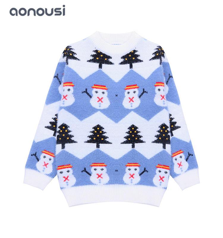 baby sweater  kids wool sweater knitting new design wholesale girls long sleeves christmas sweater