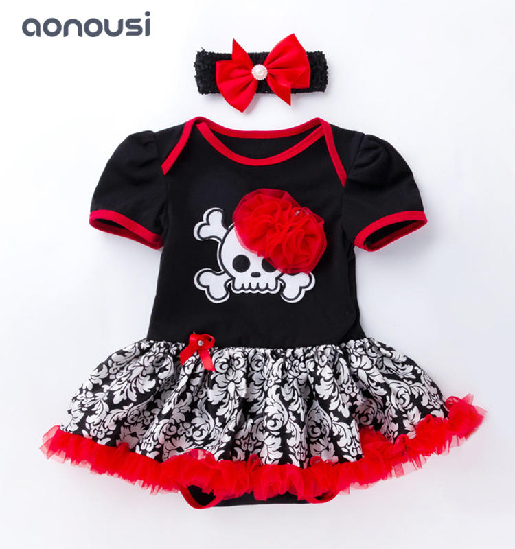 Children dresses wholesale girls Halloween pumpkin short sleeves dress