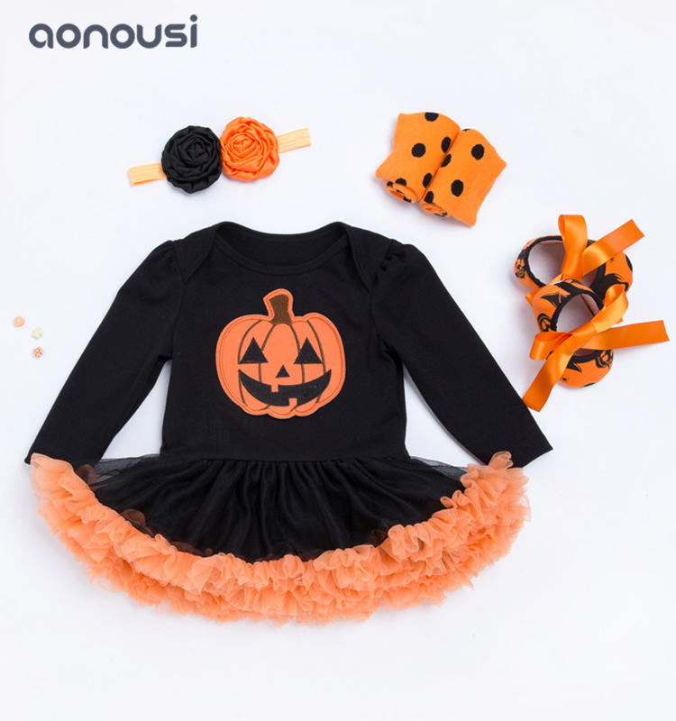 baby christmas clothing long sleeves Hallowmas pumpkin 4 piece suit wholesale girls clothes