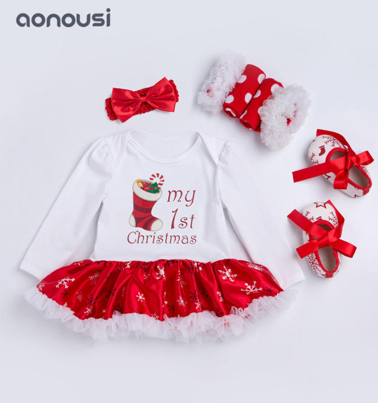 christmas children clothing snow printing pattern long sleeves dresses wholesale girls clothing suppliers