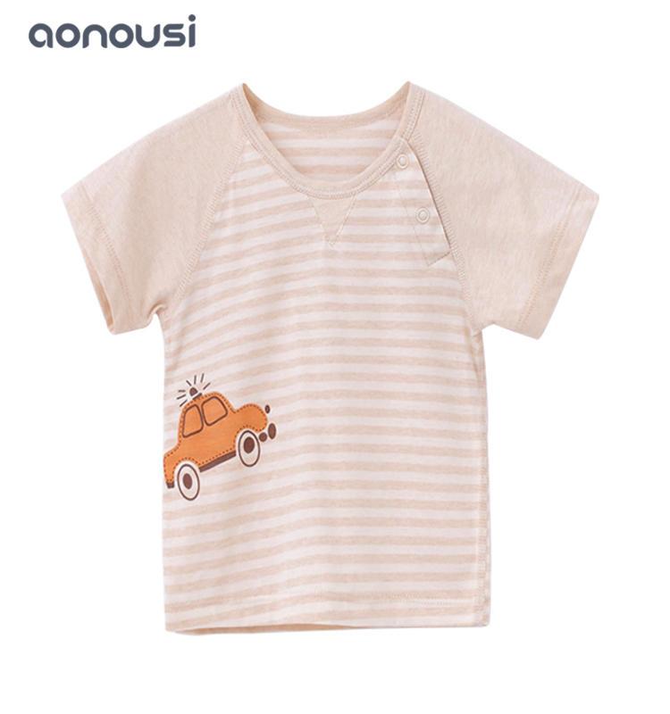 Baby clothes striped short sleeves t shirt wholesale girls boys kids round collar stripe shirt