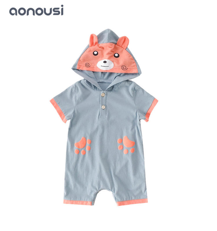 Infant oneseies summer Korean new style hooded clothing boys  girls wholesale clothes