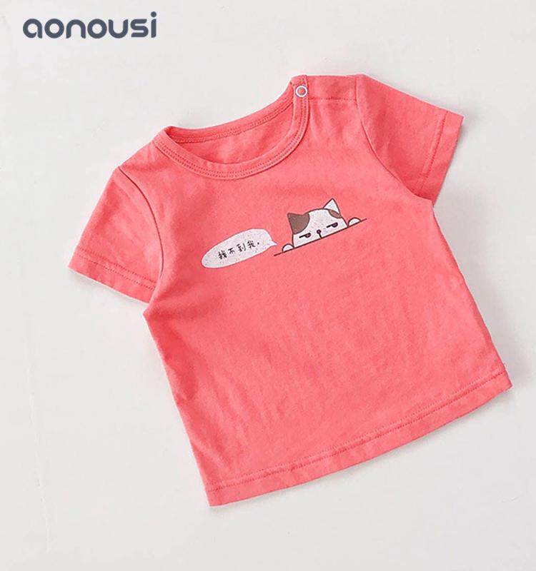 Infant clothes pure color t shirt wholesale girls cartoon cat shirt boys casual clothes