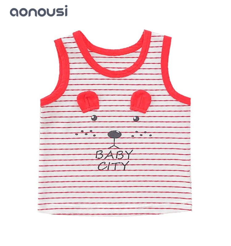 Children clothing sleeveless t shirt baby cartoon striped vest wholesale boys clothing