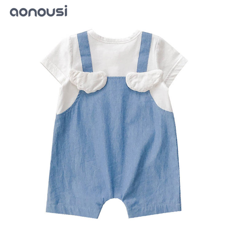 Baby clothing cowboy wings jumpsuits fake 2 pieces summer boys suits wholesale