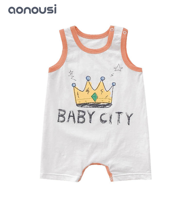 2019 new kid clothing baby vest jumpsuits wholesale girls Boys crown printing sleeveless climb clothes