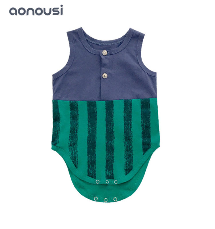 Summer new design clothes baby jumpsuits striped matching clothes bulk boys clothes