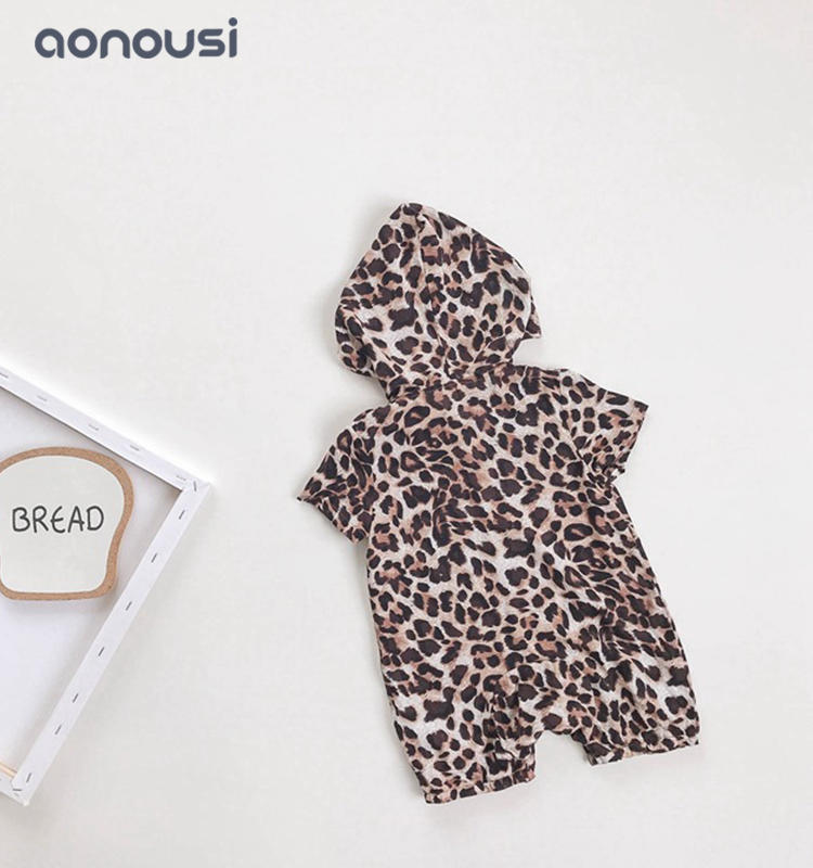 baby clothing summer Leopard grain hooded short sleeves jumpsuits boys bulk clothing