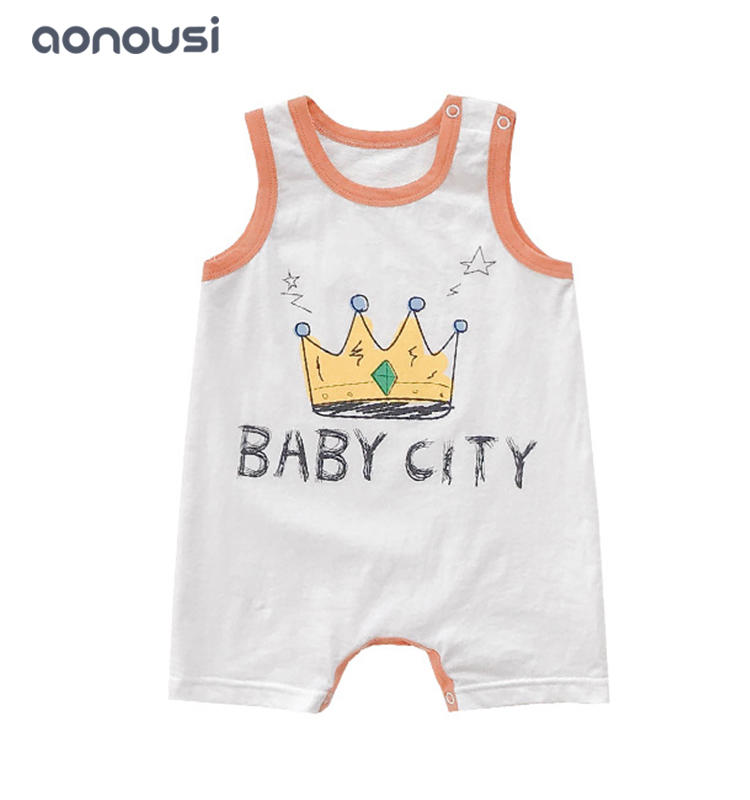baby jumpsuits children sleeveless clothes letter printing pattern jumpsuits wholesale baby clothes