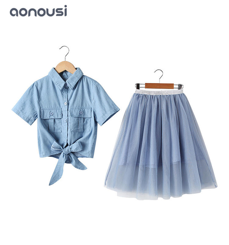 Kid clothes blue girls suits girls wholesale clothing supplier summer girls shirt and lace skirt