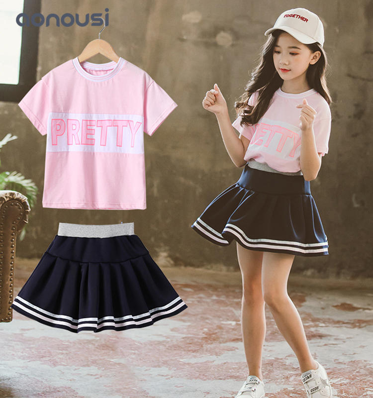 Children clothing summer girls sets short sleeves t shirt and skirt wholesale girls clothes