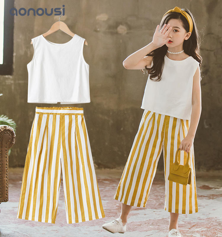 kids clothing 2019 summer Korean version children suits sleeves shirt and striped loose pants sets wholesale girls wear