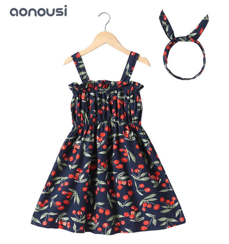 Children dresses 2019 summer new design floral cherry hanging dresses girls boutique dresses wholesale