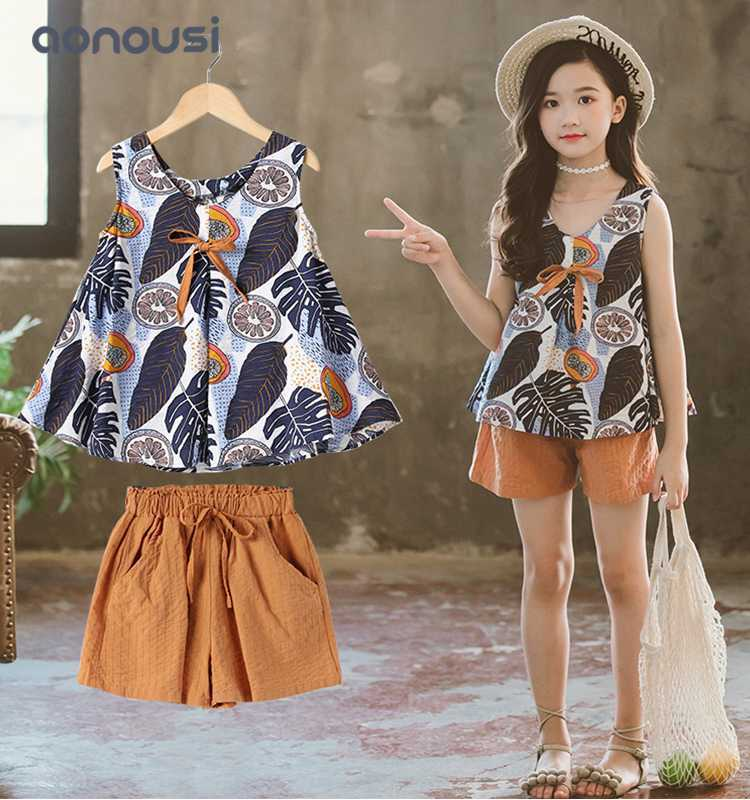 children clothing girls sporing suits sleeves shirt and loose trouser 2 pieces sets wholesale girls outfits