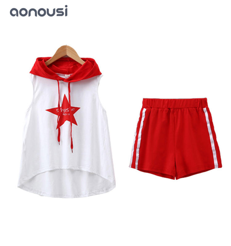 Children clothes new style sporting suits hooded shirt and shorts sets wholesale girls boutique outfits
