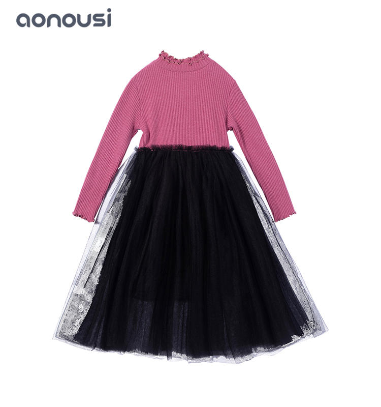 children clothes new design Children dress red Knitted shirt t lace skirt wholesale girls fashion Autumn kids clothes dress