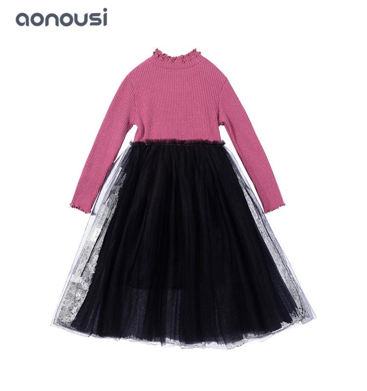 children clothes new design Children dress red Knitted shirt t lace skirt wholesale girls fashion Autumn kids clothes dress