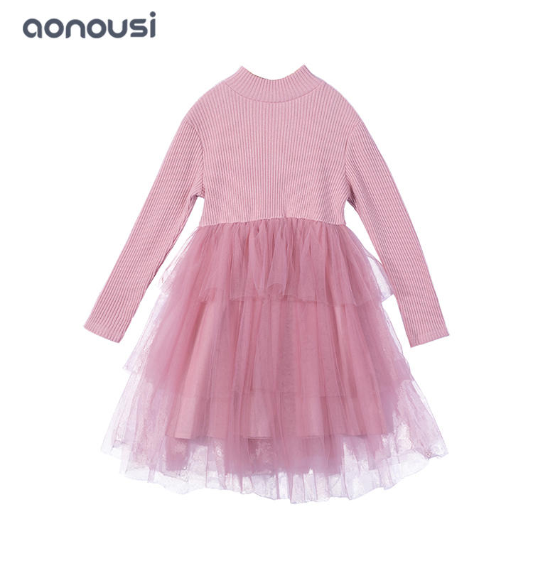 Autumn  winter dress for kids lace middle collar korean kids dress bulk buy girls clothes