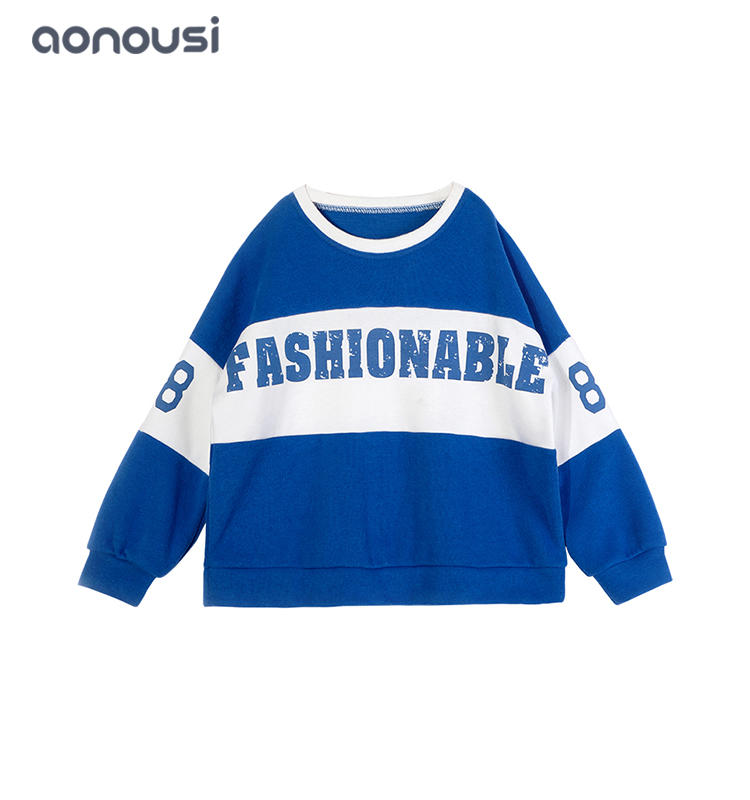 kids clothing causal pullover blue white matching girls children's clothing wholesale girls outfits