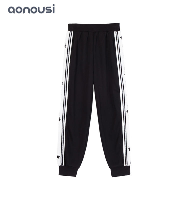 popular girl  Black clothes children pants start glisten striped pants  wholesale causal girls boutique outfits