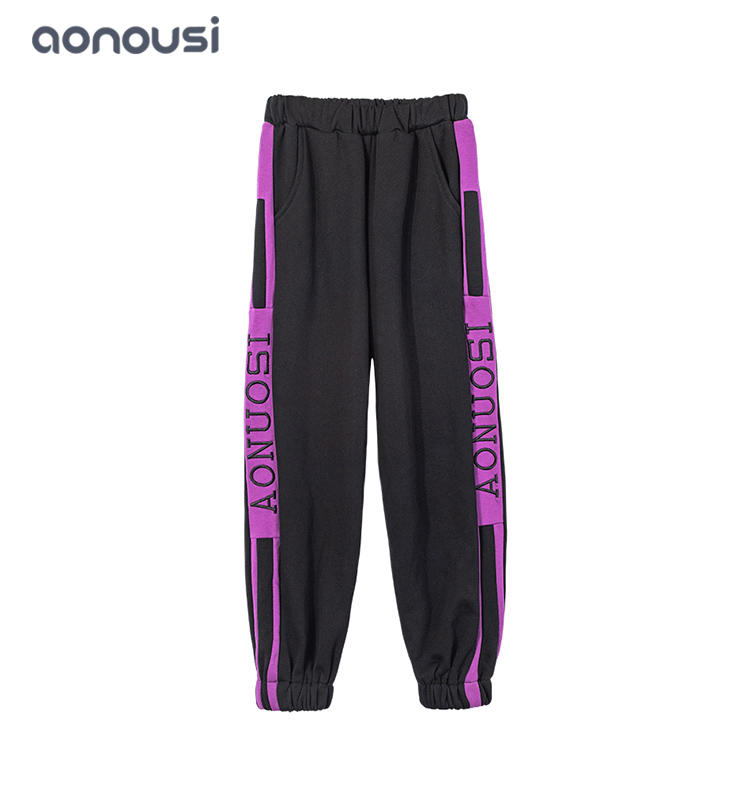 baby girl trouserswinter causal pants purple striped letter pants wholesale girls fashion pants