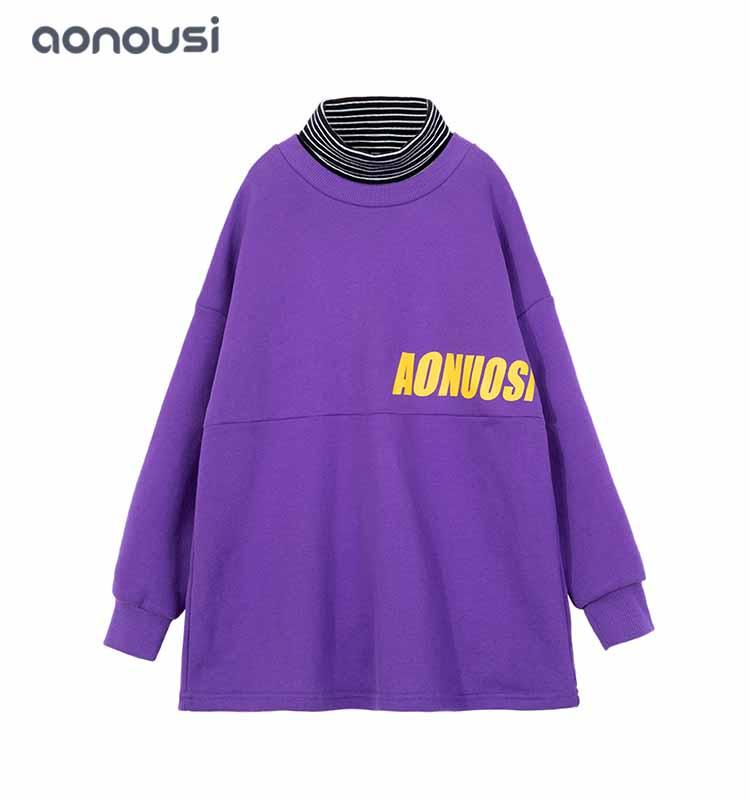 children's clothing for girls striped collar girls shirt purple long sleeves shirt wholesale girls clothing suppliers