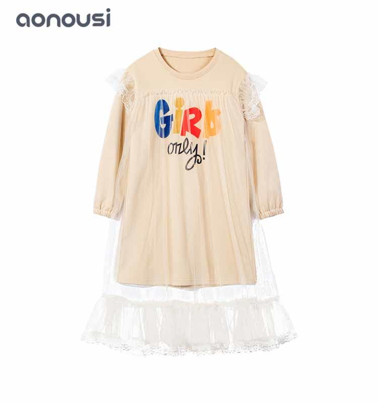 little girl clothes, long sleeves girl dress two layer long shirt lace wholesale girls princess dresses