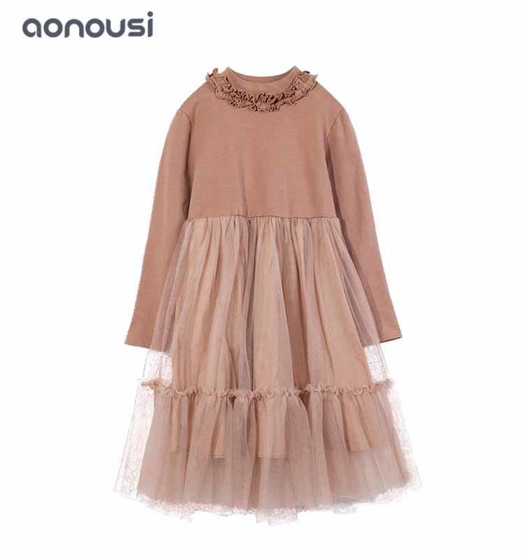 girls brown dress kids wholesale girls lace dresses flower collar long sleeves girls party dresses